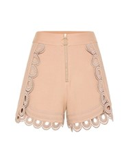 Self Portrait Shorts With Guipure Lace Beige