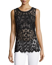 Laundry By Shelli Segal Embroidered Mesh Tank Black