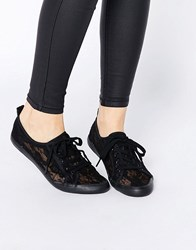 Asos Dagnall Canvas Lace Up Trainers Black
