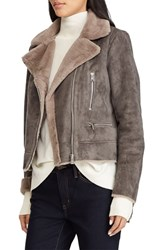 Lauren Ralph Lauren Faux Shearling Moto Jacket Grey