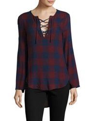 Bella Dahl Bell Sleeve Lace Up Plaid Shirt Burgundy Navy