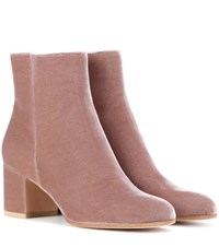 Gianvito Rossi Margaux Velvet Ankle Boots Pink