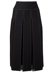 Valentino Studded Pleated Midi Skirt Black