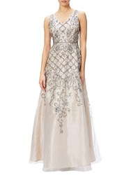 Adrianna Papell Sleeveless Organza Beaded Evening Gown Ivory Nude