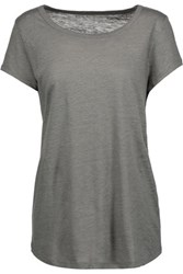 Majestic Slub Linen And Silk Blend T Shirt Gray