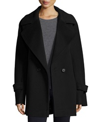 Fleurette Notched Collar Double Breasted Wool Coat Black