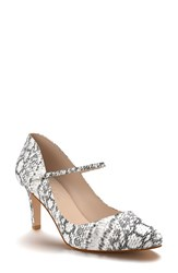 Shoes Of Prey Women's Mary Jane Pump Black White Print Leather