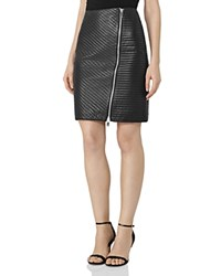 Reiss Azure Quilted Leather Skirt Black
