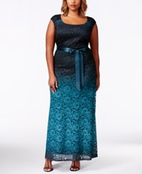 R And M Richards Plus Size Sleevless Ombre Lace Evening Gown Emerald