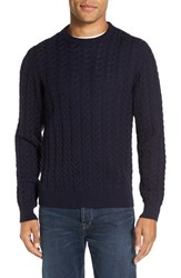 Morgano Men's Cable Knit Wool Crewneck Sweater
