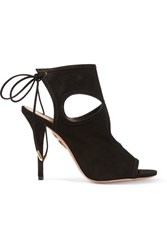 Aquazzura Sexy Thing Cutout Suede Sandals Black