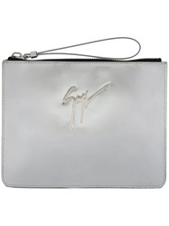 Giuseppe Zanotti Design Margery Mirrored Clutch Calf Leather Metallic
