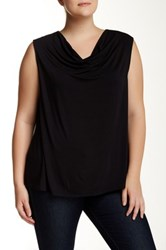 Susina Drape Neck Knit Top Plus Size Black