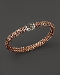 John Hardy Men's Classic Chain Sterling Silver And Bronze Medium Chain Bracelet With Brown Pave Diamonds Brown Bronze
