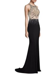 Basix Black Label Sleeveless Embroidered Gown Black Multi