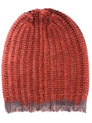 Avant Toi Cable Knit Beanie Red