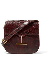 Tom Ford Tara Small Python Shoulder Bag Burgundy