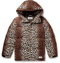 Wacko Maria Leopard Print Quilted Cotton Corduroy Down Jacket Brown