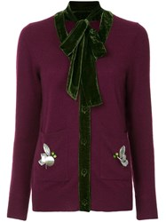 Onefifteen Cashmere Knitted Cardigan Pink And Purple