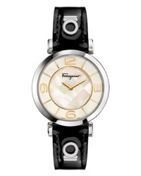 Salvatore Ferragamo 39Mm Gancino Deco Watch W Black Patent Leather Strap White