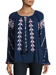 Parker Felicia Embroidered Tie Blouse Stealth