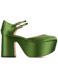 Rochas Almond Toe Wedge Sandals Green