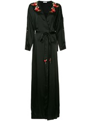 Vilshenko Silky Poppy Trim Robe Gown Black