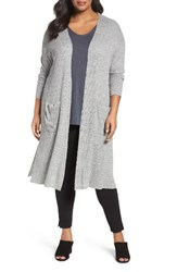 Sejour Plus Size Women's Duster Cardigan Grey Heather