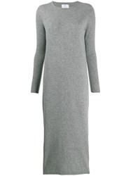 Allude Knitted Midi Dress Grey