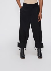 Ms Min 'S Loose Cuff Pant In Black Size 4 100 Wool