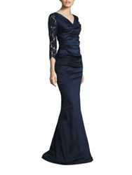 Rickie Freeman For Teri Jon Ruched Lace Gown Navy