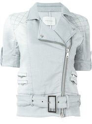 Pierre Balmain Belted Short Sleeve Denim Jacket Grey