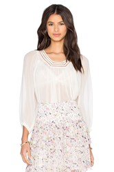 Rebecca Taylor Long Sleeve Lace Top Blush