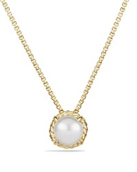 David Yurman Chatelaine Pendant Necklace With Pearl In 18K Gold White Gold