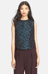 3.1 Phillip Lim Leopard Pattern Sculpted Tank Dark Teal