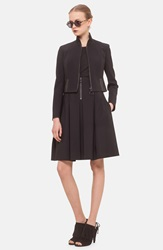 Akris Punto Faux Leather Trim Neoprene Jacket Black