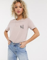Jdy T Shirt With Woman Slogan In Dusty Pink Grey