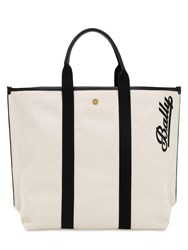 Bally Logo Embroidered Canvas Tote Naturale