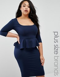 Goddiva Plus Pencil Dress With Peplum Navy