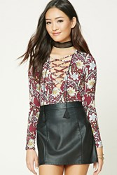 Forever 21 Floral Print Lace Up Bodysuit Wine Peach