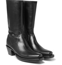 Vetements Lucchese Cuban Heel Leather Boots Black