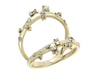 Alexis Bittar Double Band Satellite Crystal Ring 10K Gold Ring
