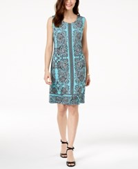 Jm Collection Chain Link Trim Shift Dress Created For Macy's Aqua Ornament Garden