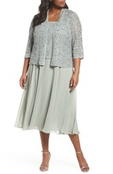 Alex Evenings Plus Size Women's Sequin Lace And Satin Dress With Jacket Ice Sage