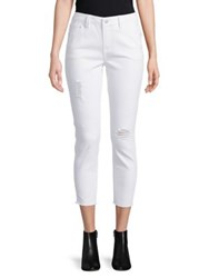 Candc California Frayed Hem Cropped Jeans White