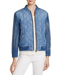 Bella Dahl Quilted Chambray Bomber Jacket Artist Wash