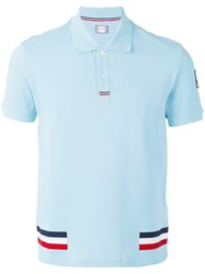 Moncler Gamme Bleu Tri Colour Stripe Polo Shirt Men Cotton M Blue