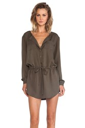 Michael Stars Button Down Shirt Dress Army