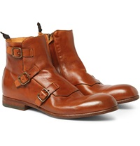 Alexander Mcqueen Triple Monk Strap Leather Boots