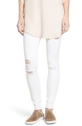 Hue Women's Ripped Denim Leggings White